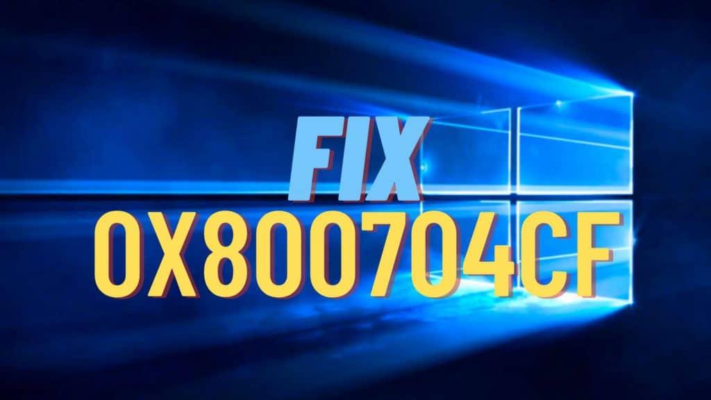 Error code 0x800704cf